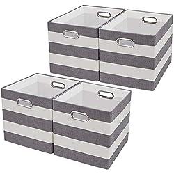 Cajas de Almacenaje,Cestas de Organizador,Cestos para la Colada Plegables,Cestas de Tela para Organizadoras el Dormitorio, Oficina, Armario, Juguetes, Ropa - Rayas grises / Beige,conjunto de 4