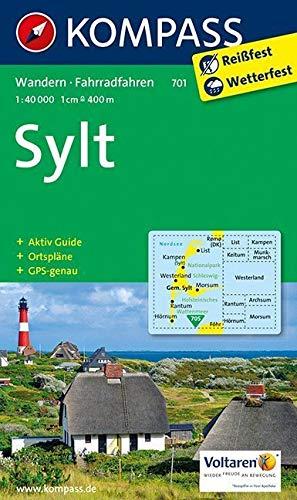 Sylt mit allen Ortsplänen und Strassenverzeichnissen: Wanderkarte mit Aktiv Guide und Radwegen. GPS-genau. 1:40000 /1:17500 (KOMPASS-Wanderkarten, Band 701)