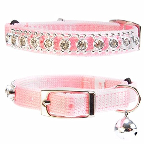 Cat Collar Diamante Safety Elastic Nylon Rhinestone Bell Bling Whisker City cat (Pink)