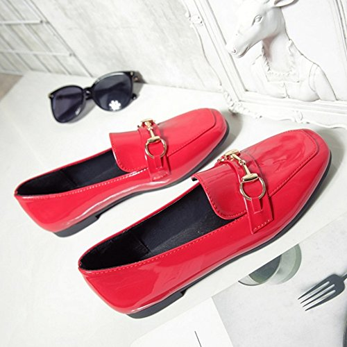 TAOFFEN Damen Gemutlich Schlupfschuhe Flach Pumps School Dress Shoes Rot