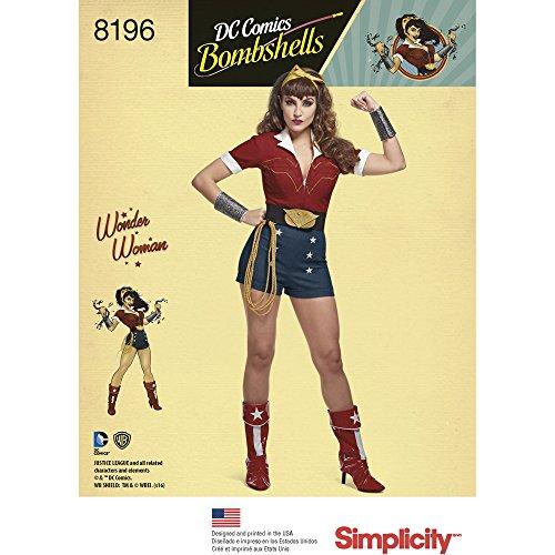 (Simplicity Schnittmuster 8196Damen DC Comics Bombshells Wonder Woman Kostüm Schnittmuster, weiß, R5(14–16–18–20–22))