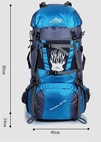 LQABW Outdoor-Reisen Wandern Männer Und Frauen-Schulter-wasserdichte Sport-Backpak Tasche 60L Yellow