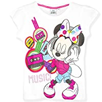 Disney Minnie Mouse Girls Short Sleeve Top T-Shirt 100% Cotton Large Print - New 2017 - White 3