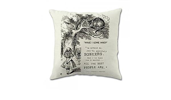 1WillLoanestore Alice in Wonderland Cotton Square Cotton Linen Pillow Cover 18 X 18 Inch
