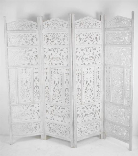 4 Panel Heavy Duty Carved Indian Screen Wooden Leaves Design Screen Room  Divider[White]: Amazon.co.uk: Kitchen U0026 Home