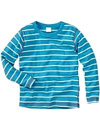 wellyou, Baby Langarm-Shirt türkis weiß gestreift, Kinder Longsleeve geringelt, für Jungen und Mädchen, Baumwoll-Feinripp, Größe 56-146