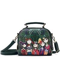 Tibes Ladies Handbags Pu Leather Purse Tote Bags Retro Shoulder Bag Vintage Crossbody Women Printed Satchel Messenger...