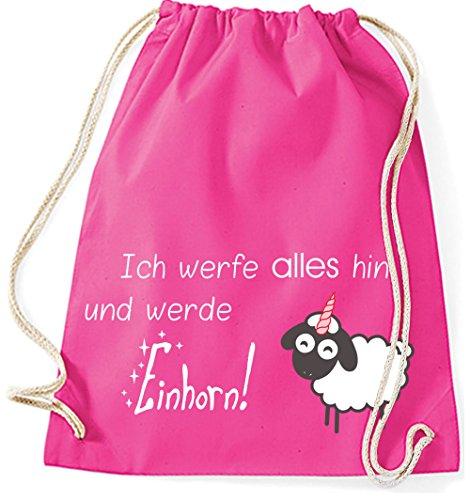 Jutebeutel Turnbeutel Sportbeutel Stofftasche Baumwolltasche Tasche Rucksack Gymsack Sheep Schaf Sheepcorn Ich werfe alles hin und werde Einhorn (Fuchsia) Pink