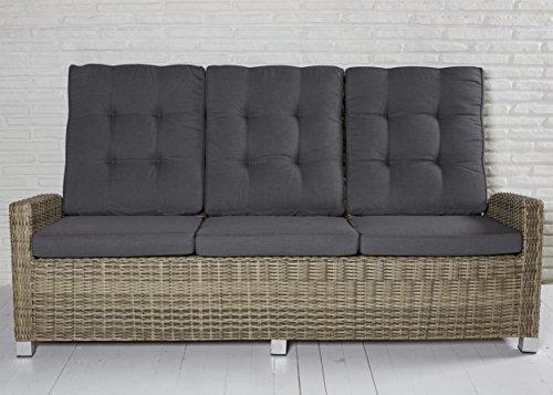 Madrid 3er Sofa Polyrattan Dreisitzer Couch white pepper 210 x 87 cm Wholesaler 169763 - Gartenmöbel Set Terrassensofa Couch mit verstellbare Rückenlehne und Kissenauflagen