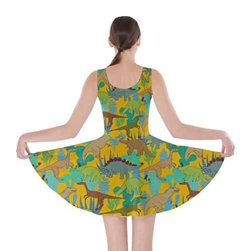 CowCow Damen Kleid Rosa Magenta Yellow Green Dino