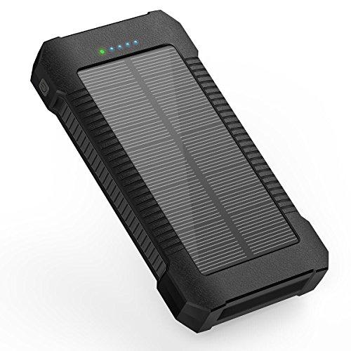 X-DNENG Externer Akku Batterie Solar Powerbank Ladegerät 22000mAh Solar Ladegerät Tragbares mit Type-C & Micro USB Dual Input LED Taschenlampe für iPhone iPad, Samsung Galaxy, Tablet, Kamera Portable Angeln Gps