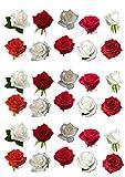 30 bellissime decorazioni commestibili per torta in ostia a forma di rose rosse e bianche