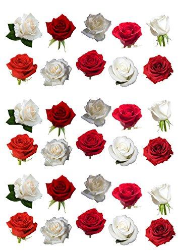 Rosas comestibles rojas y blancas para decorar tartas (30 unidades)