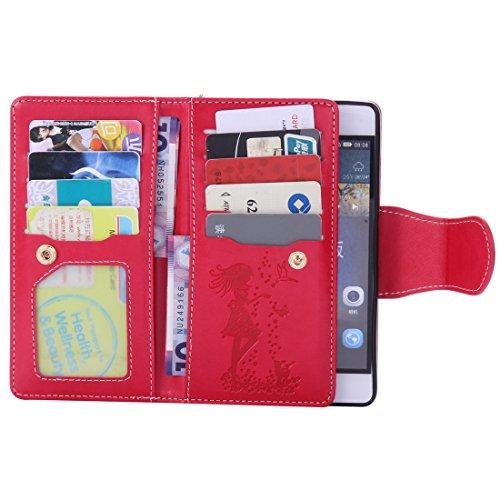 Chreey Coque Apple Iphone 6 Plus / 6S Plus (5.5 pouces) ,PU Cuir Portefeuille Etui Housse Case Cover ,carte de crédit Fentes pour (9 fente) ,idéal pour protéger votre téléphone rouge