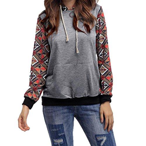 Longra Damen Herbst Kapuzenpullover Hoodie Sweatshirt Langarm Pullover Mantel Oberbekleidung Tops Bluse Gray