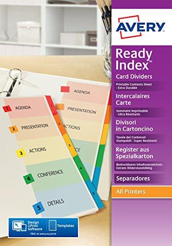 Avery ReadyIndex Trennblätter Mylar-Register mehrfarbiges Inhaltsblatt extra breit 1-12 2001501