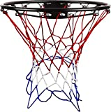 V3Tec Basketballkorb mit Netz rot-weiss