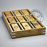 Hind Kunsthandwerk Classic handgefertigt Vintage Holz Tic Tac Toe Messing Inlay Spiel Set/Geburtstag Geschenk/Antiquitäten Sammlerstücke/Reise Spiel (40,6x 25,4x 5,1cm)