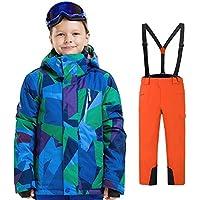 LPATTERN Traje de Esquí para Niños/Niñas Traje Conjunto de Nieve Impermeable para Deportes de Invierno, Azul A+Naranja, 150/10-11 años