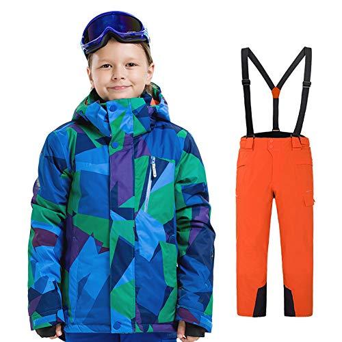 LPATTERN Traje de Esquí para Niños/Niñas Traje Conjunto de Nieve Impermeable para Deportes de Invierno, Azul A+Naranja, 120/5-6 años