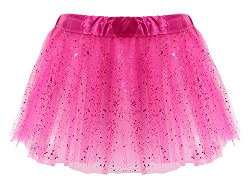 Tüllrock Pink Glitzer Mini Tütü Rock Minirock 50er 60er Jahre Ballettrock Tutu Tüllröckchen elastischer Bund von ALSINO LG0271