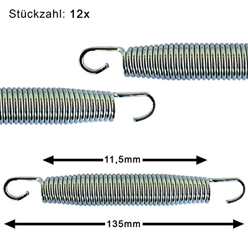 Trampolin awm® 12x 16,5 cm (165 mm) Federn Sprungfedern Spiralfedern Zubehör Ersatzteil