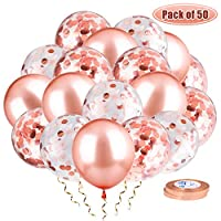 Whaline 50pcs Rose Gold Confetti Balloon Set Including 24 Pcs Latex Balloons and 24 Pcs Confetti Balloons 2 Pcs Ribbons for Birthday, Weddings, Baby Shower Party Decorations