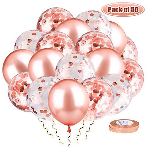 Whaline 50 Stück 12 Zoll Rose Gold Luftballons 24 Stück Latexballons, 24 Stück Konfetti Ballons und 2 Stück Bändern für Geburtstag, Graduierung, Baby-Dusche, Hochzeit, Party Deko