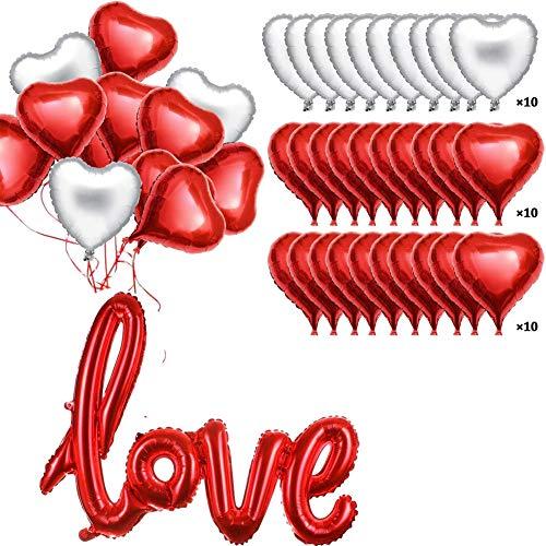 Betoy foglio di elio rosso cuore palloncini set palloncini da 18 pollici per san valentino nozze doccia anniversario e decorazione di fidanzamento festa della mamma, compleanno