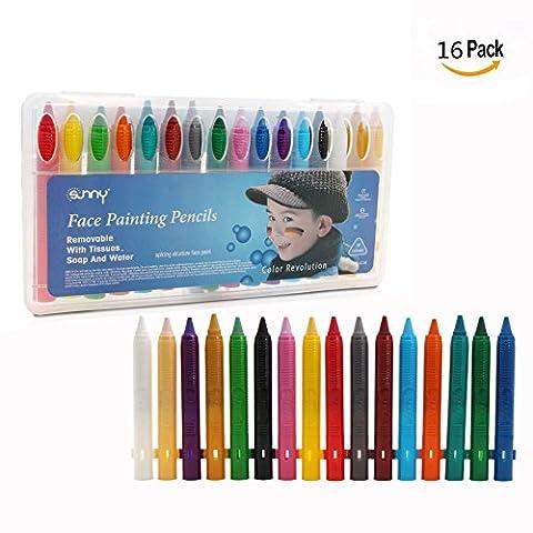 Cisixin Lot de 16 Crayons Maquillage de couleur pour Visage de Fêtes