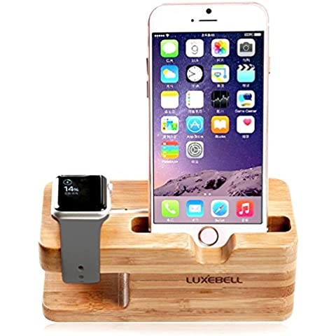 Base de Carga Luxebell 2 en 1 Apple Watch Stand Soporte de Madera de Bambú para 38mm 42mm Apple Watch y iPhone 6s Plus / 6s / 6 Plus / 6 / 5s / 5c / 5 / 4s /4 y más Smartphone