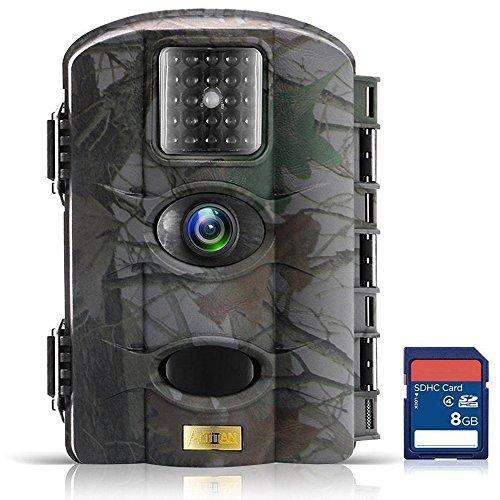 ARTITAN Wildkamera 1080P Full HD 12MP Die Kamera 20m Erfassungsbereich No Glow Nachtsicht 2,4''LCD Bildschirm Wasserdicht IP65 Digital Wildkamera Fotofalle (M330-8GB)