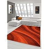 Alfombra diseñador Alfombra moderna pila alfombra de la sala alfombra pelo corto con el Winchester Modelo de ondas en rojo Größe 160x230 cm