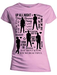 One Direction Women's Silhouette Lyrics Short Sleeve Crew Neck T-Shirt