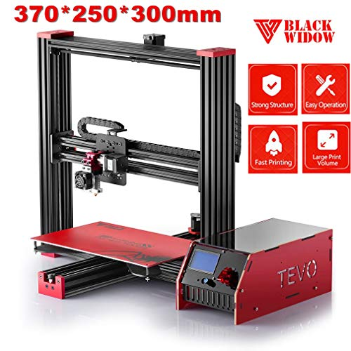 Tevo Black Widow I3 3D Drucker DIY Kit Aluminium Rahmen Große Druckgröße 370 * 250 * 300mm Hohe Genauigkeit Adopt für MKS MOSFET Heizungsregler Microstep Extruder LCD Bildschirm, mit Heatbed (Rahmen Motorhalter)