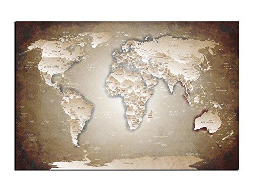 Preisvergleich Produktbild Alu-Dibond Wandbild BRAUN BEIGE MIX WELTKARTE Globus AB-826 Butlerfinish® 150 x 100 cm,  Wandbild Edel gebürstete Aluminium-Verbundplatte,  Metall effekt Eyecatcher!