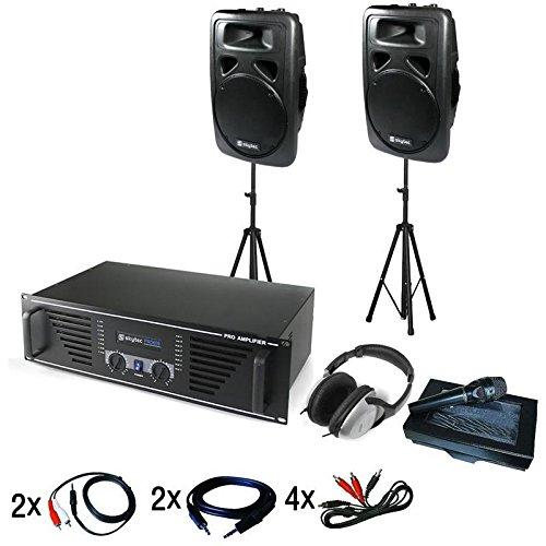 DJ-Anlage Tokyo Boxen • DJ-Set • Musikanlage • Lautsprecher-Set • Stativ • inkl. Mikrofon, Kopfhörer und Kabelset • 600 W 2-Wege-Box • RMS • 1000W Verstärker • für bis zu 200 Leute • schwarz
