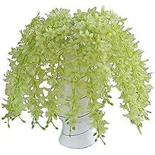 TININNA Chlorophytum Artificiales flores de tela adorno ideal para decoracion de jardin, cocina,fiestas, bodas(Verde)