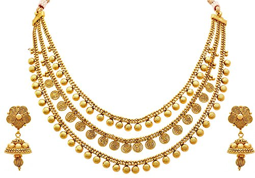 Meenaz Jewellery Traditional One gram Wedding Bridal Sarees Kundan Pearl party wear Gold plated Pendant Necklace set / Jewellery Set for women girls Jhumka Jhumki Earrings For Women Girls- Jewellery e