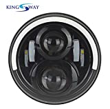 #5: Kingsway Harley Style LED Head Lights with Half Round Ring Halo Angle Eye for Royal Enfield Classic 350 (7-inch, Hi/Lo Beam)