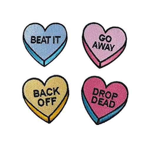 Dreamshome 4Stickerei Herz Buchstaben Alphabet Nähen Eisen auf Patch Abzeichen Staubbeutel Hat Jeans Stoff Aufnäher Craft (Eisen-auf Stoff Buchstaben-patches)