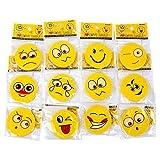 Schramm® Paquet de 12 gommes Smiley 4,5 cm 12 Motifs Gomme Gomme Gomme Caoutchouc loterie Fournitures Scolaires Mitgebsel Anniversaire des Enfants