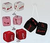 Idea San Valentino gadget auto: Set due dadi combinazioni sexy in peluche con corda e ventosa; 3 colori (mandare mail per preferenza; cm 8 ca