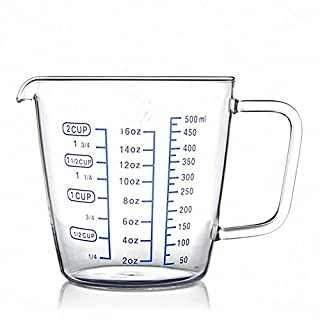AsentechUK® 500ml Transparent Glass Measuring Milk Cup With Scale Measuring Jug Household Bar Supplies