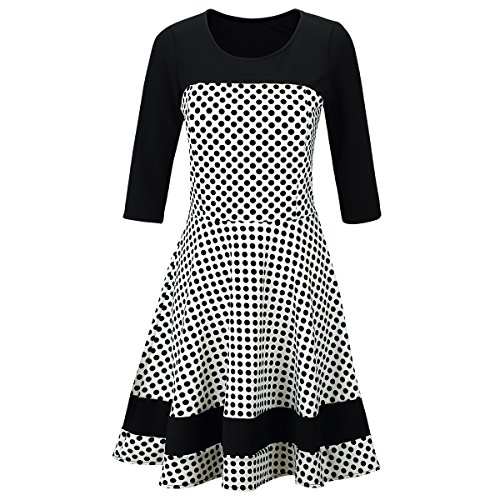 Laeticia Dreams Damen Kleid Rockabilly 3/4 Arm S M L XL, Farbe:Weiß/Schwarz Punkte Klein;Größe:40 (Kleid Kontrast Anlass)
