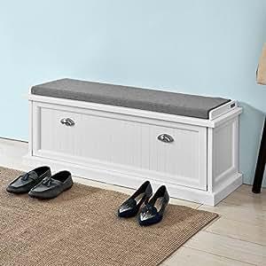 sobuy fsr41 w banc de rangemen meuble chaussures avec coussin rembourr 2 compartiments et 1. Black Bedroom Furniture Sets. Home Design Ideas