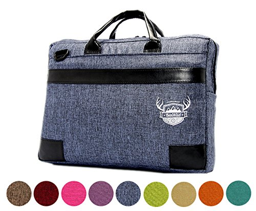 BAMBINIWELT Laptop Notebook UNI MELIERT **11 FARBEN** Aktentasche Hülle Case 15,6 - 17,0 - 17,3 ZOLL Laptoptasche NEU 41x31x6cm oder 38x28x6cm (15-6 ZOLL, Blau)