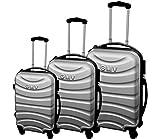 Conjunto de maletas de Shell duro del ABS 4 ruedas Spinner Luz Llevar carretilla del recorrido de la cabina (PLATEADO)