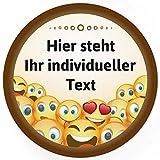 24 runde Design Etiketten Motiv Lustige Emoji - PERSONALISIERTE Aufkleber mit Smiley und Ihren Texten anpassbar