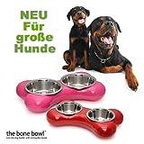 Hundenapf BONE XXL - Futternapf Doppel-Napf Futterstation - 1450 ml Futtermenge - Maße 49 x 30 x 9 cm - Farbe: Pink
